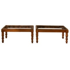 Pair of cherrywood tabourets French late 19th century