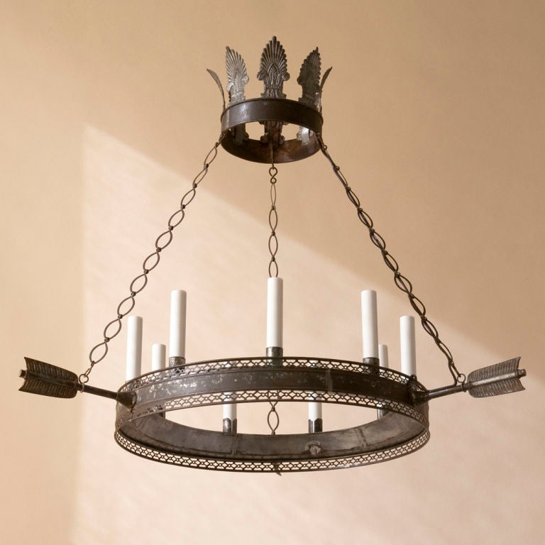 A Directoire style tole chandelier,9 lights 2