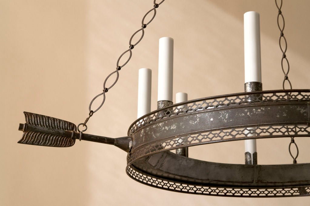 A Directoire style tole chandelier,9 lights 4