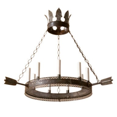 A Directoire style tole chandelier,9 lights
