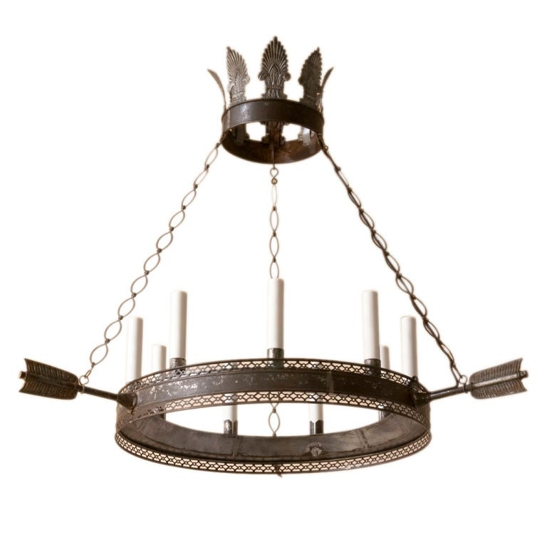A Directoire style tole chandelier,9 lights 1