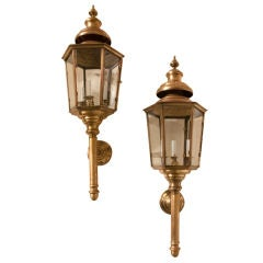 "Pair of large bronze/ brass  hexagonal  ""carriage house"" sconces"