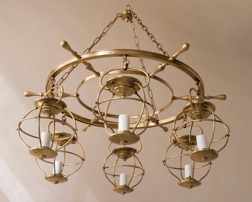 A brass ships wheel 6 light yacht chandelier at 1stdibs a brass ships wheel 6 light yacht chandelier mozeypictures Gallery