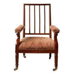Regency style mahogany open back low library chair