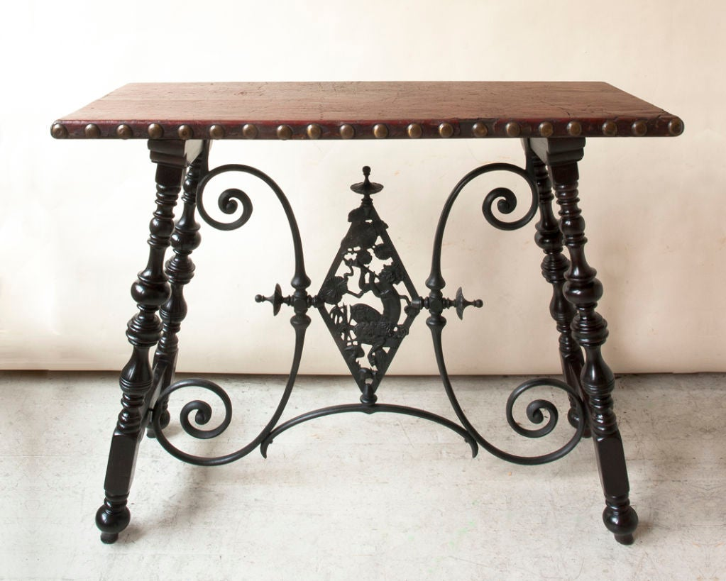 Renaissance style table, metal cross support with Pan figure image 3