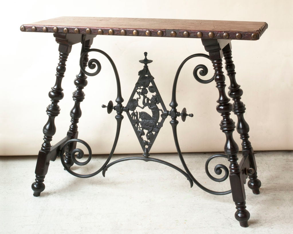 Renaissance style table, metal cross support with Pan figure image 4