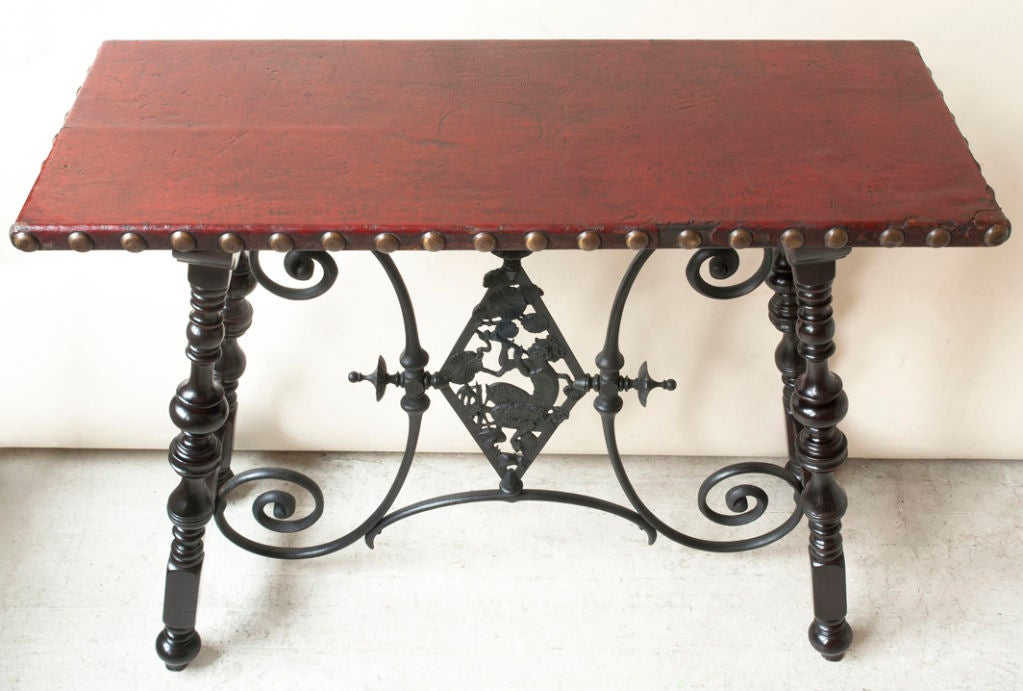 Renaissance style table, metal cross support with Pan figure image 5