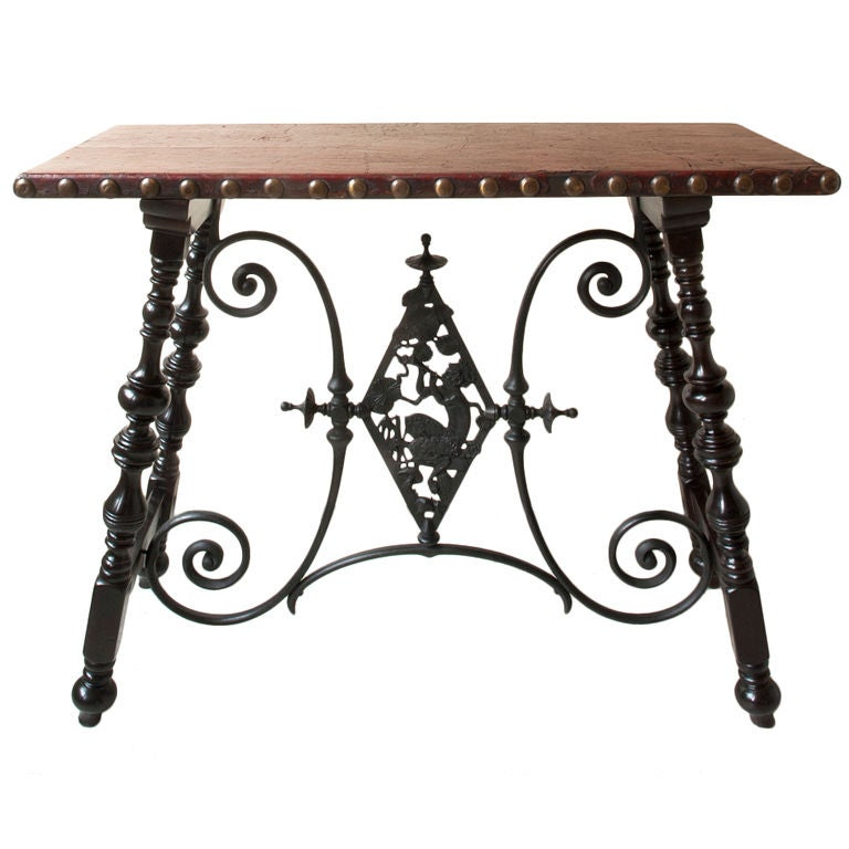 Renaissance style table, metal cross support with Pan figure 1