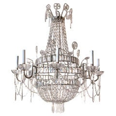 Directorie style crystal and glass basket shaped chandelier