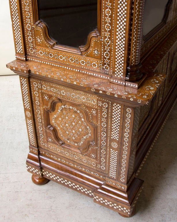 Baroque Style Bone Inlaid Walnut Two Door Bibliotheque At 1stdibs
