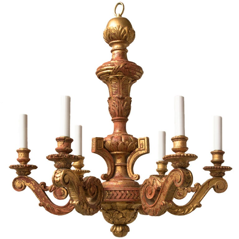 Louis Xvi Style Carved And Giltwood 6 Light Chandelier At