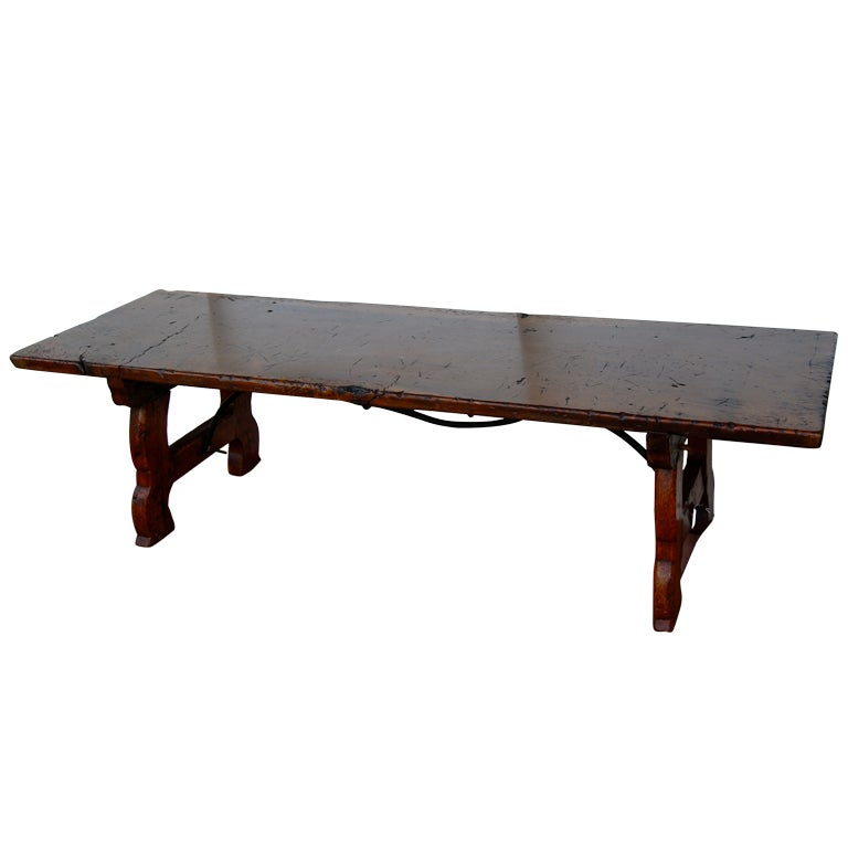 Spanish Lyre Legged Coffee Table Bench Walnut At 1stdibs