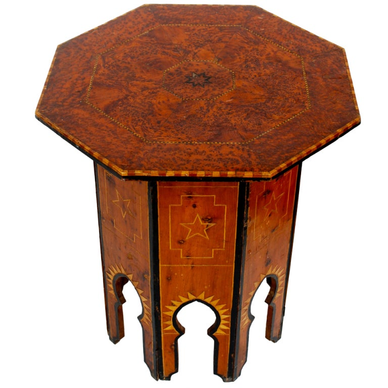 19th Century Burl Wood Moroccan Table for the French Market