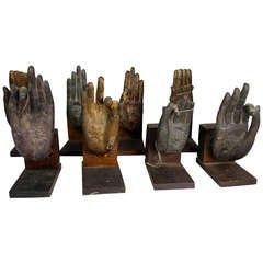 Collection of Bronze Buddha Hands (8) Likely 19th Century