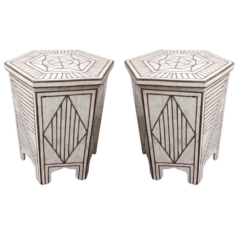 Pair Of Bone And Brass Hexagonal Moorish Side Table With Brass Inlay 1