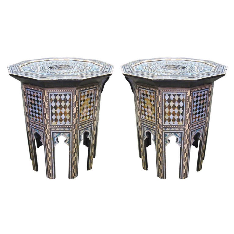 Stunning Pair Of Mother Of Pearl, Abalone Inlay Moroccan Or Syrian Side  Tables 1