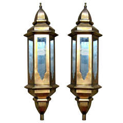 Pair of Tall Metal Moroccan Wall Lanterns with Mirror Interior