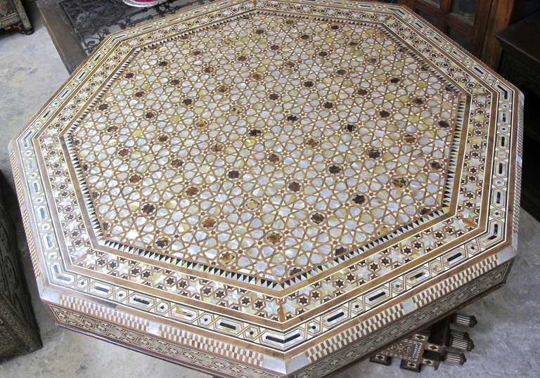 Bon Incredible Large Syrian Mother Of Pearl And Bone Octagonal Dining Or Center  Table In Excellent Condition