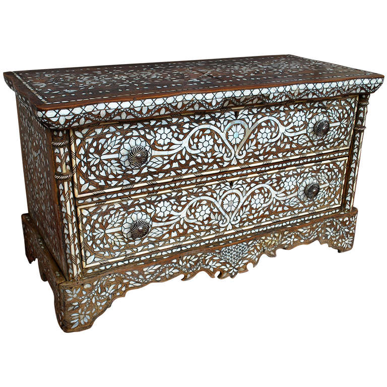 Unique Mother Of Pearl Cabinet: Wonderful 19th Century Syrian Mother Of Pearl Dresser