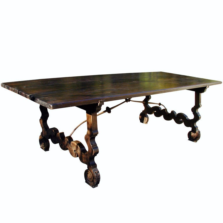 Walnut spanish style dining table lyre legs for sale at for Table in spanish