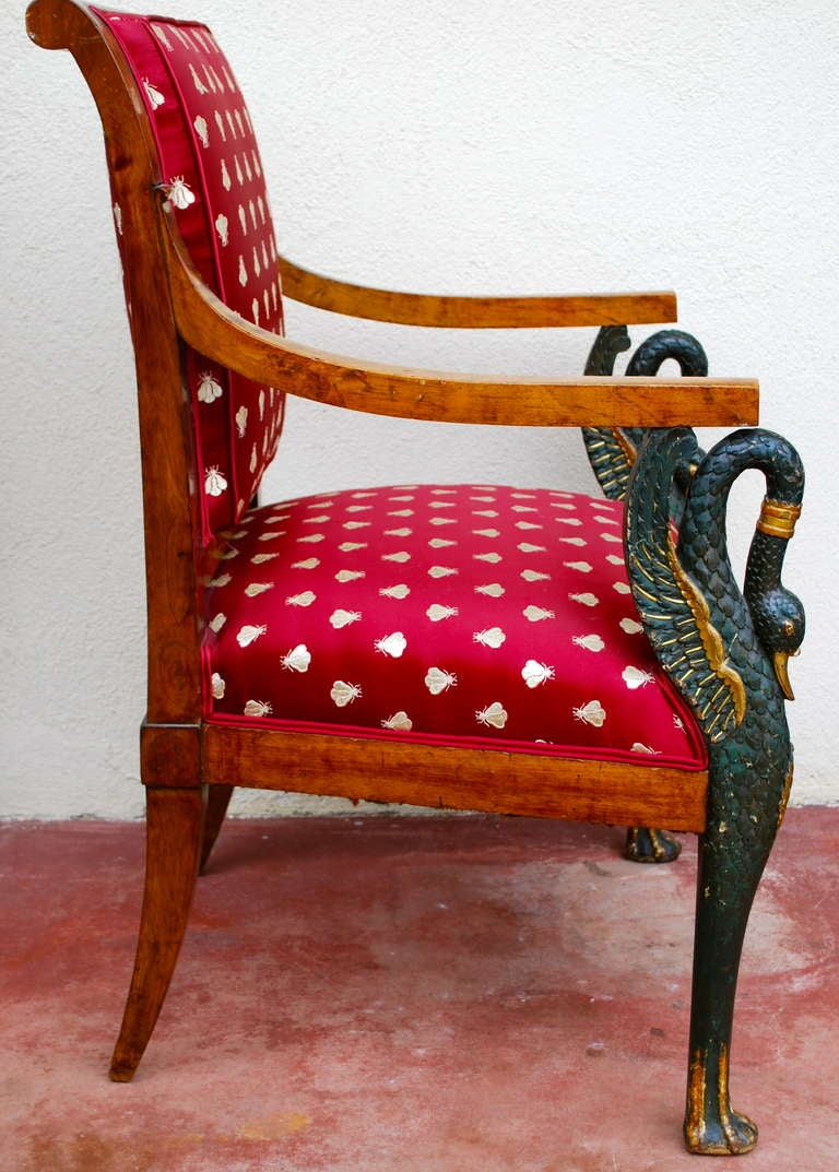 French Empire Chair Swan Carving For