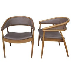 Pair of Modernist Gio Ponti Style Chairs