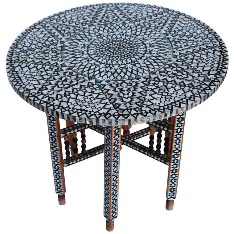 Beautiful Mid Century Mother of Pearl Moroccan Coffee Table at 1stdibs