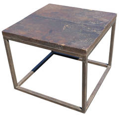 Side Table with 17th Century Spanish Chestnut-Top and Modern Base
