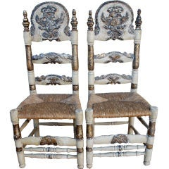 Great Pair of Mallorcan Spanish Chairs 19th Century