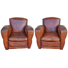 Nice Pair of French Art Deco Leather Club Chairs