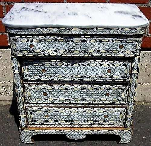 Pair of Syrian Mother of Pearl Inlay Dressers Low image 2