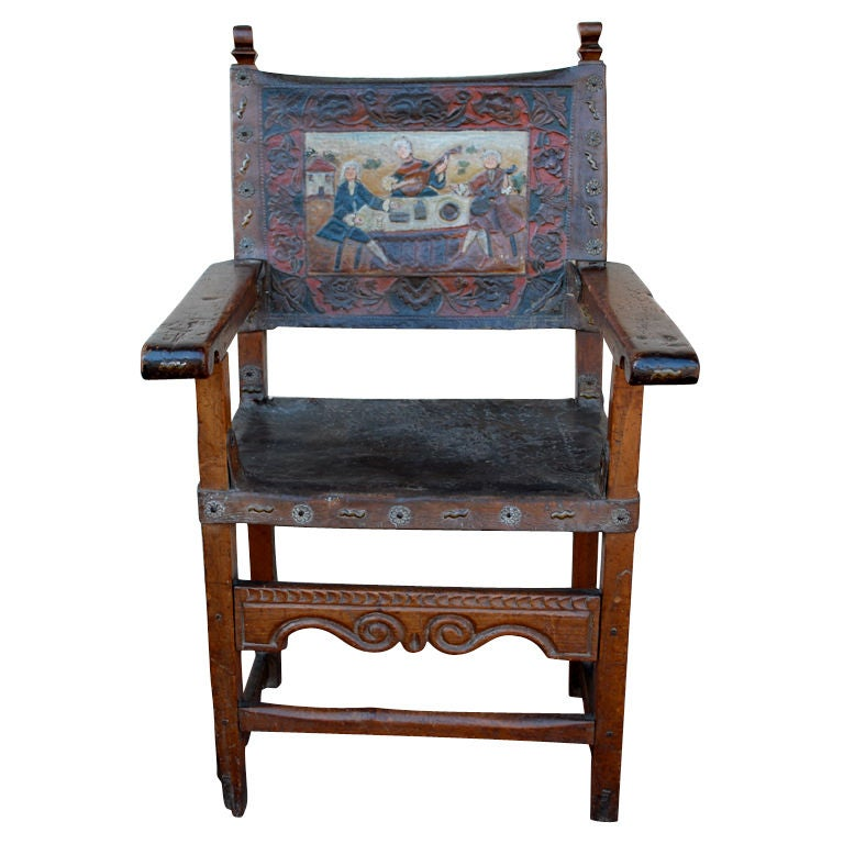 18th Century Spanish Colonial Leather Painted And Embossed Chair At 1stdibs