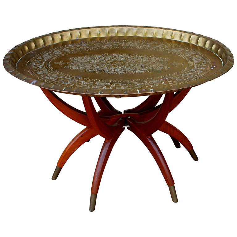 Mid Century Oval Br Tray Coffee Table Moroccan For