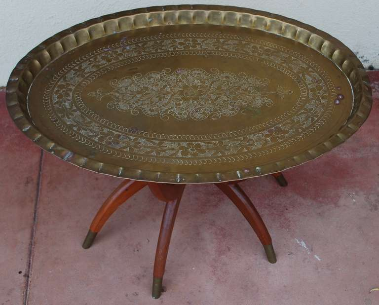 mid century oval brass tray coffee table moroccan at 1stdibs
