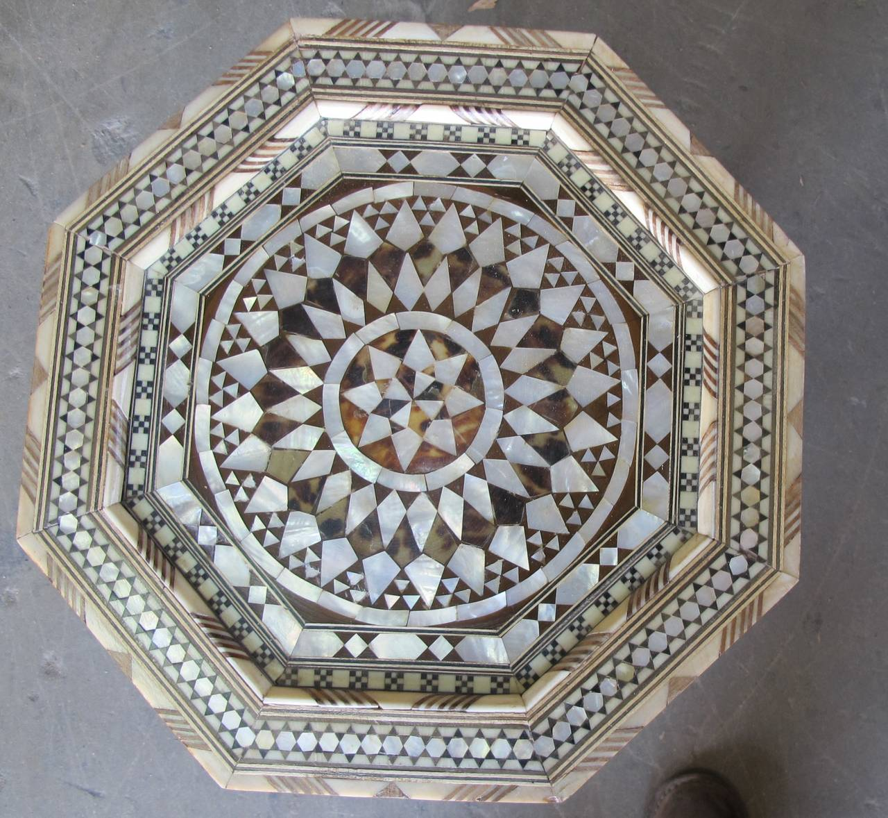 Moroccan Inlay Side Tables in Mother-of-Pearl In Excellent Condition For Sale In Montecito, CA