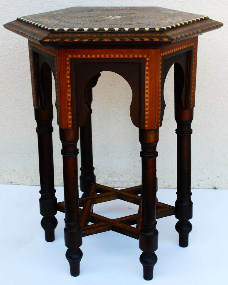 Very Nice Moroccan Hexagonal Table With Intricate Inlay Designs Throughout.  Lovely Star Design As Stretcher