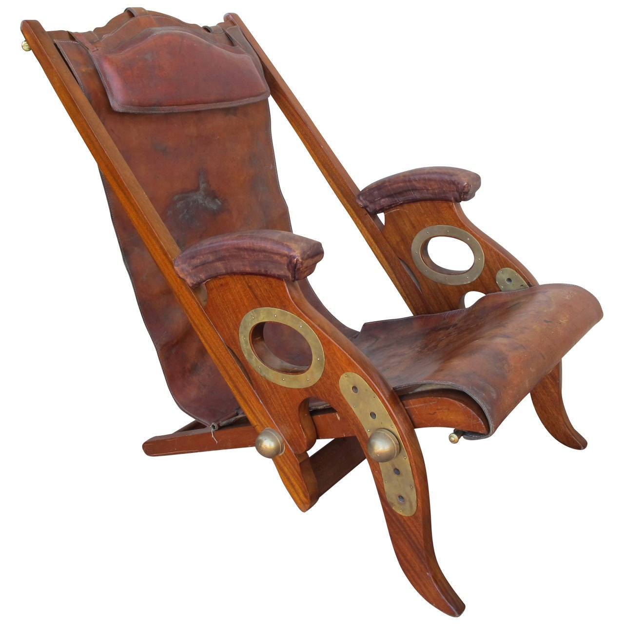 Exceptional Anglo Indian Padouk Campaign Chair With Brass Details