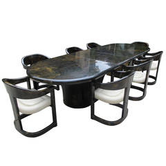 Rare Karl Springer Extension Dining Table with Eight Onassis Chairs