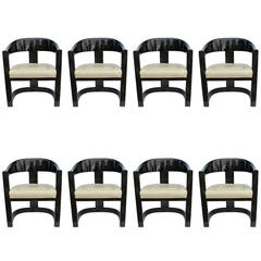 "Rare and Chic Set of Eight Lacquered Karl Springer ""Jackie O"" Chairs"