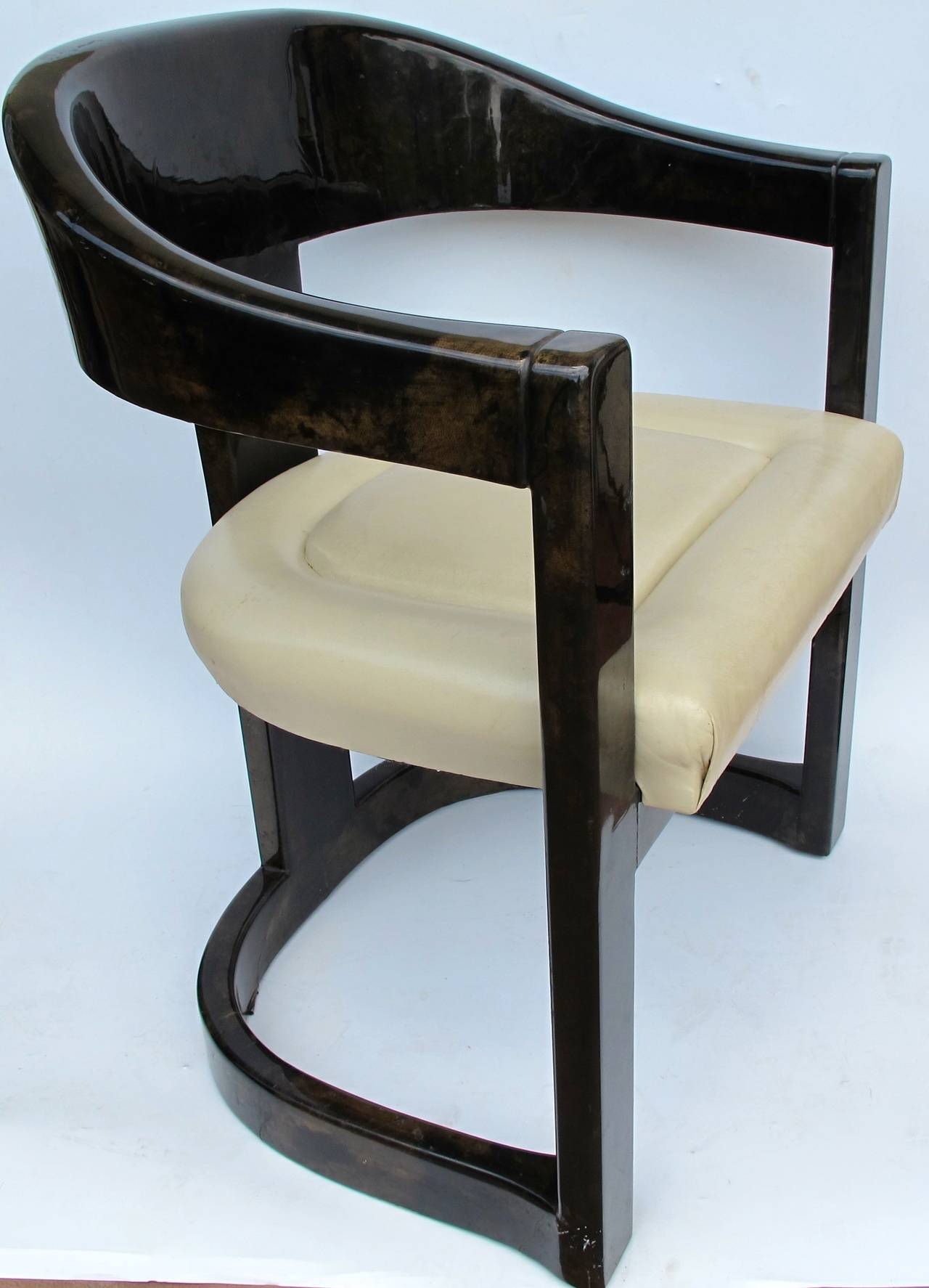 Set Of Eight Goatskin Lacquered Chairs By Karl Springer His Iconic