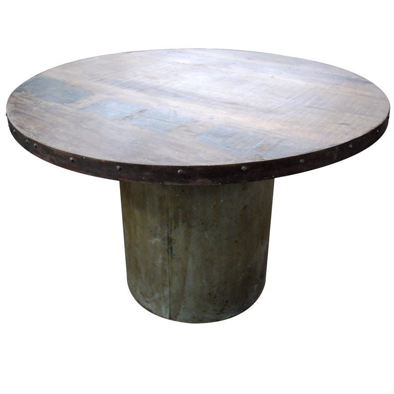 Industrial Round Dining Table: Cool Industrial Base Dining Table With Round Top At 1stdibs