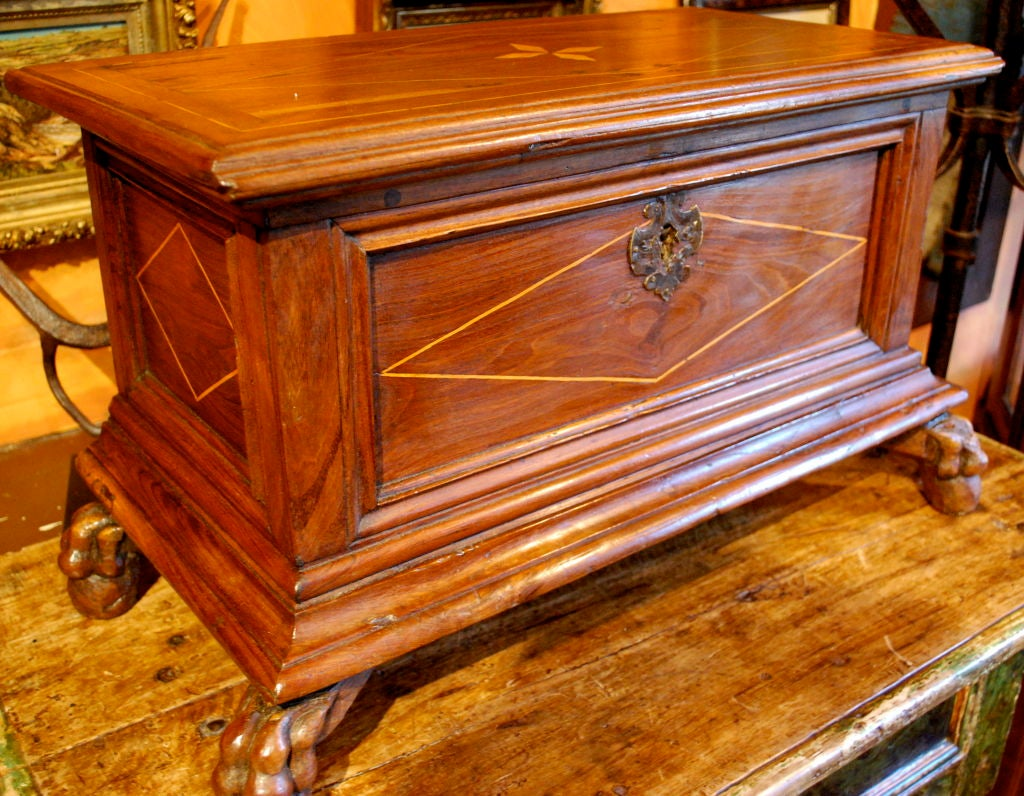 Nice 19th century Italian table chest with ball and claw feet. Inlay geometric designs. Haskell antiques specializes in rare 16th, 17th, 18th century Italian, Spanish, French, Syrian, Moroccan, French, Spanish Colonial, Anglo-Indian, Portuguese,