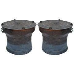 Pair Of Beautiful Bronze Southeast Asian Rain Drums