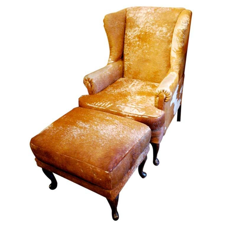 Cowhide Club Chair And Ottoman At 1stdibs