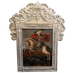 18th Century Santiago Spanish Painting in Wood with Silver Frame