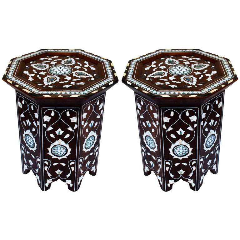 Pair Of Syrian Or Moorish Side Table With Mother Of Pearl And Abalone 1