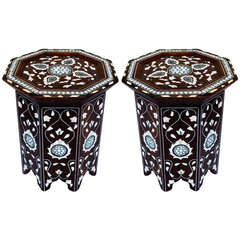 Pair of Syrian or Moorish Side Table with Mother-of-Pearl and Abalone