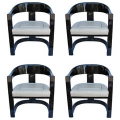 Set of Four Karl Springer Onassis Chairs, Lacquered