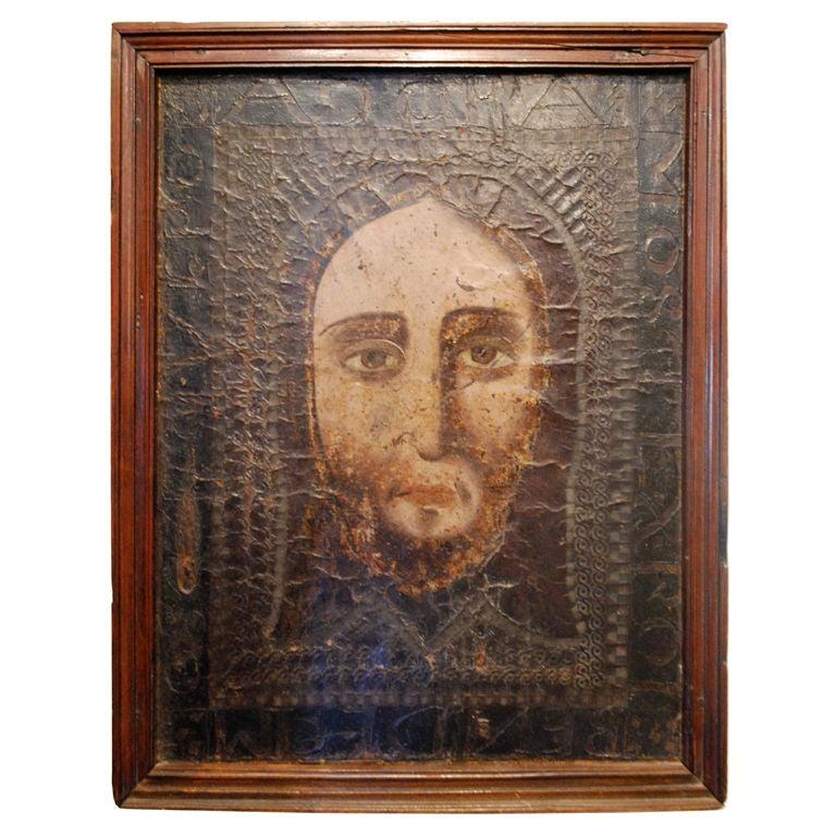 Veil of Monica Spanish 15th Century Painting Leather