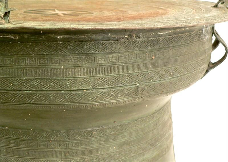 19th Century South East Asian Bronze Rain Drum Coffee Table Side For Sale